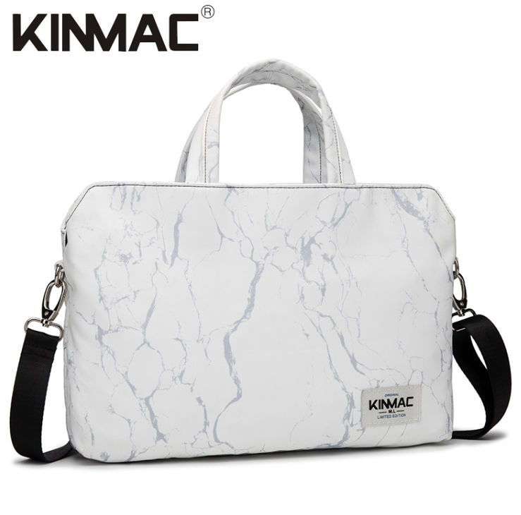 Kinmac White Marble 360° Protective Laptop Hand Bag Case with Handle and Detachable Shoulder
