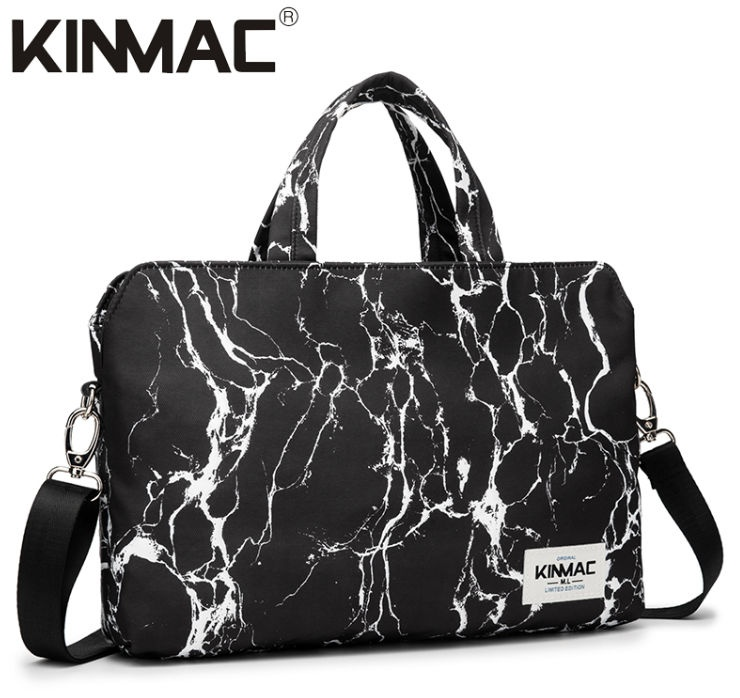 Kinmac Black Marble 360° Protective Laptop Hand Bag Case with Handle and Detachable Shoulder