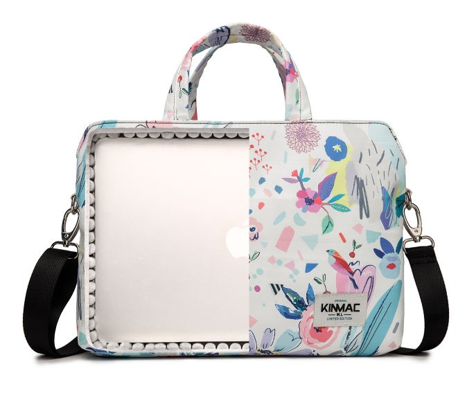 Kinmac Flowers 360° Protective Laptop Hand Bag Case with Handle and Detachable Shoulder