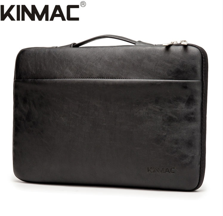 Kinmac Black Leather 360° Protective Laptop Sleeve Bag Case
