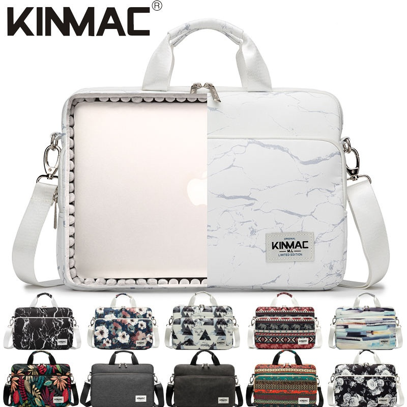 Kinmac White Marble 360° Protective Laptop Sleeve Bag Case with Handle and Detachable Shoulder