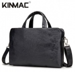 Kinmac Black Leather 360° Protective Laptop Hand Bag Case with Handle and Detachable Shoulder