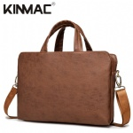 Kinmac Brown Leather 360° Protective Laptop Hand Bag Case with Handle and Detachable Shoulder