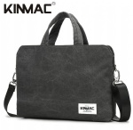 Kinmac Grey Canvas 360° Protective Laptop Hand Bag Case with Handle and Detachable Shoulder