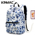 Kinmac Blue Plum Blossom Waterproof  Laptop Backpack Travel School Business Bag
