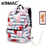 Kinmac Blue Rose Waterproof  Laptop Backpack Travel School Business Bag